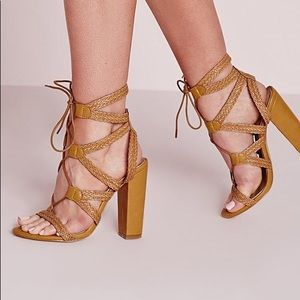 Missguided Yellow Plaited Lace Up Block Heel Size7